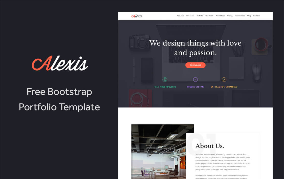 alexis free one page bootstrap portfolio template templateocean